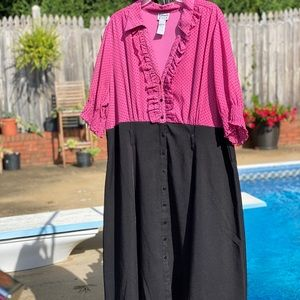 Bright pink black skirt button up dress. Size 3X